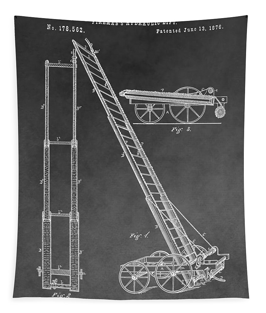 Fireman's Hydraulic Lift Patent Tapestry featuring the mixed media Fireman's Hydraulic Lift by Dan Sproul