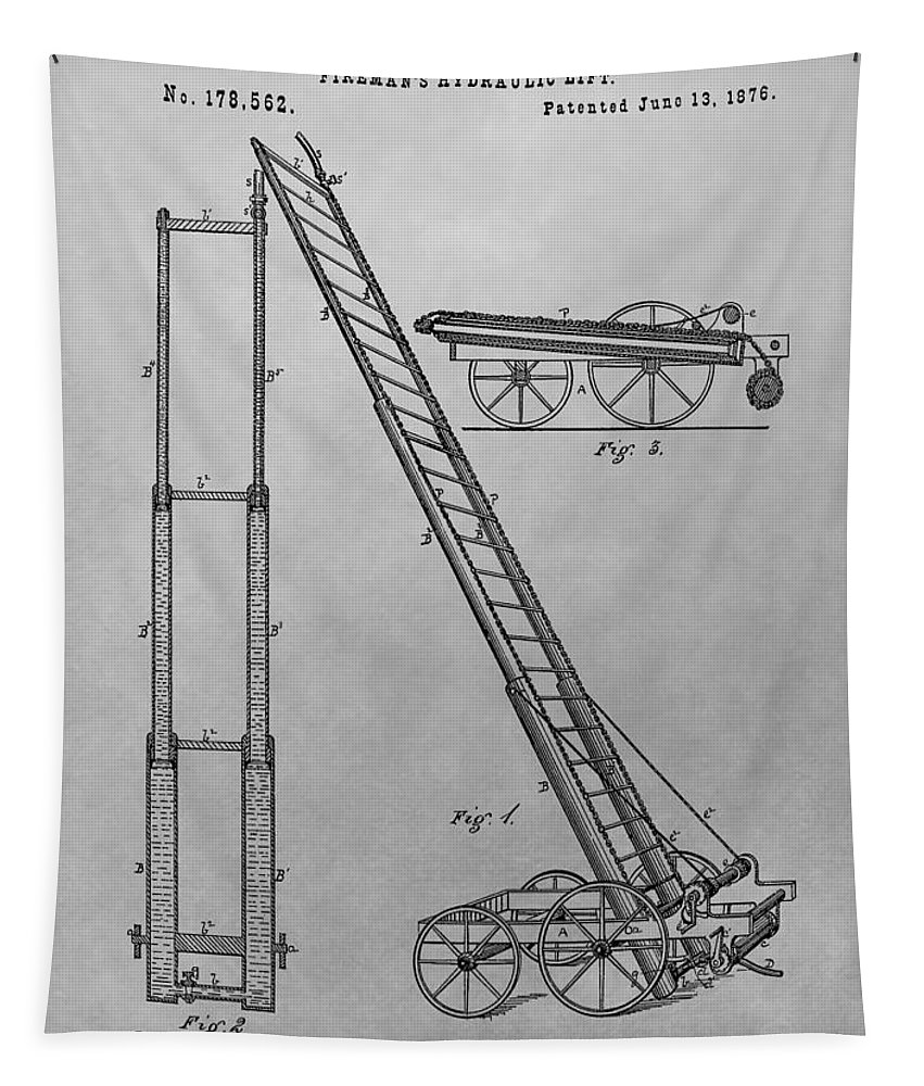Fireman's Hydraulic Lift Patent Tapestry featuring the drawing Fireman's Hydraulic Lift Patent Drawing by Dan Sproul