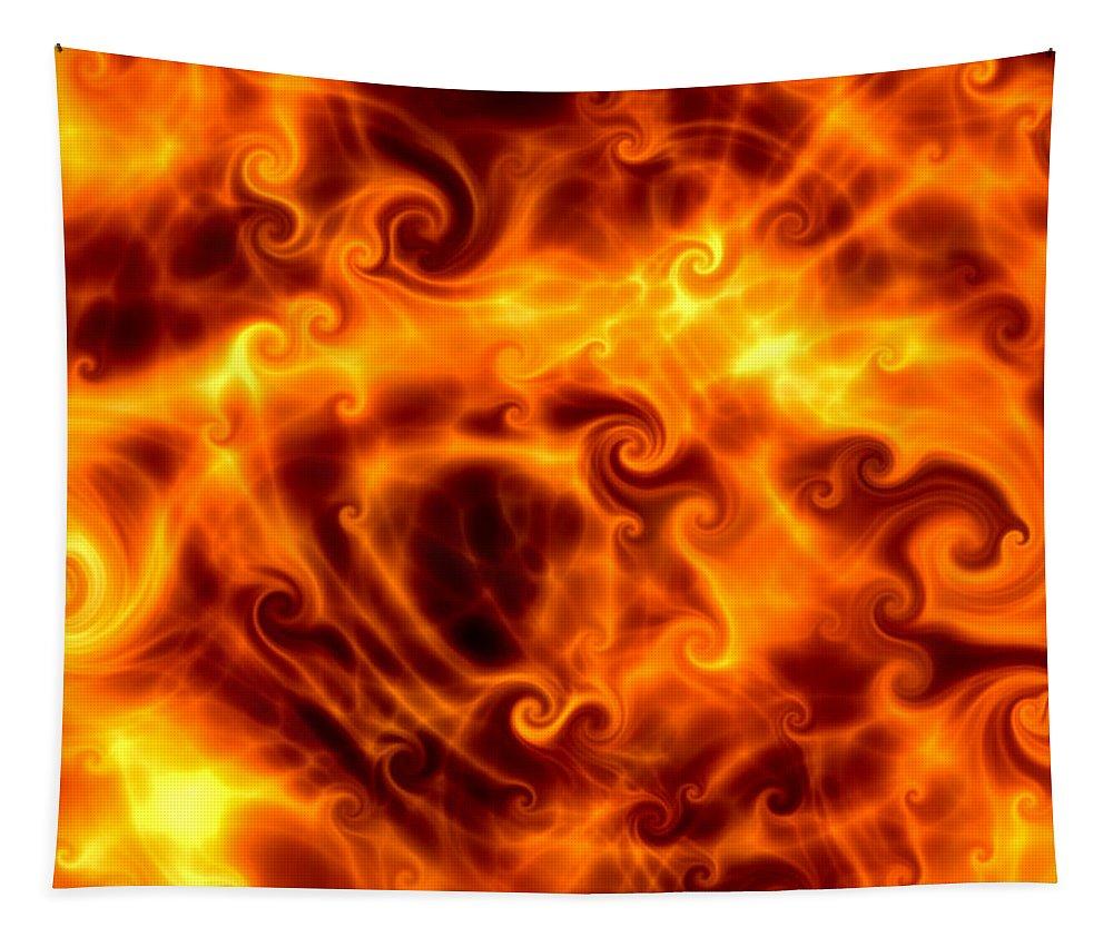 Abstract Tapestry featuring the digital art Firestorm by Hakon Soreide