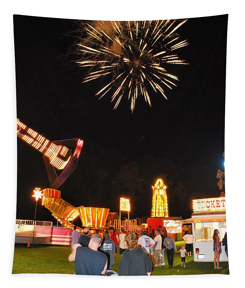 Fireworks Tapestry featuring the photograph Fireworks At The Carnival by Kurt Von Dietsch