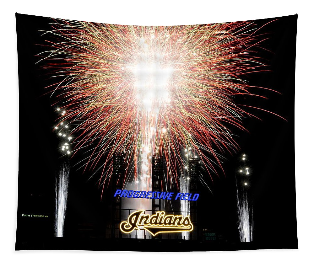 Indians Tapestry featuring the photograph Fireworks Finale by Frozen in Time Fine Art Photography