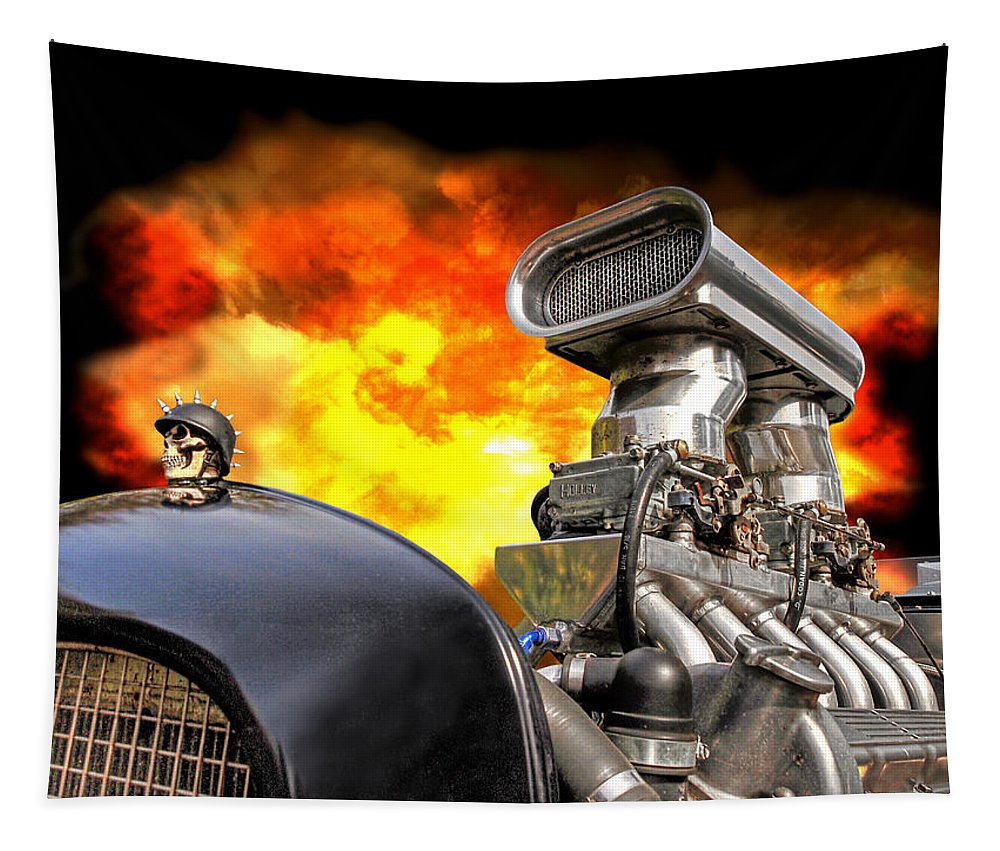 Hotrod Tapestry featuring the photograph Firing Up The Rat Rod by Gill Billington