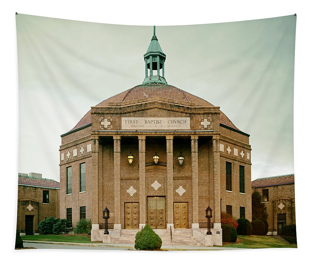 Landscape Tapestry featuring the photograph First Baptist Church Of Asheville North Carolina by Mountain Dreams