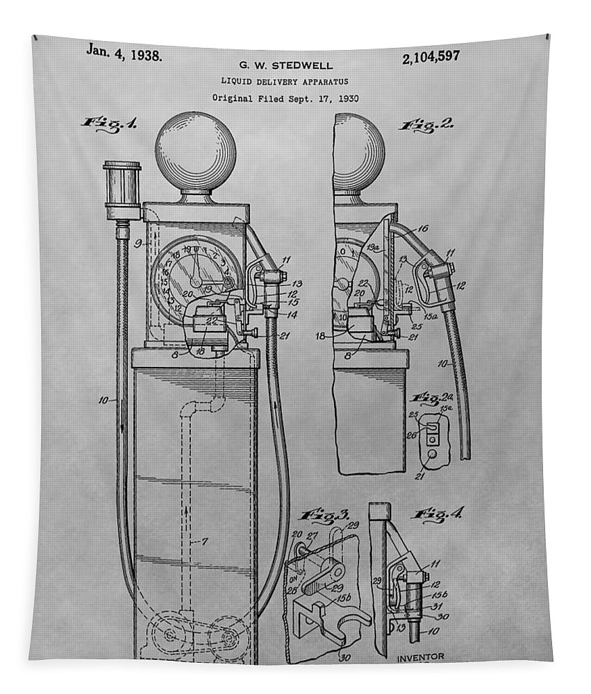Vintage Gas Pump Patent Tapestry featuring the drawing First Gas Pump Patent Drawing by Dan Sproul