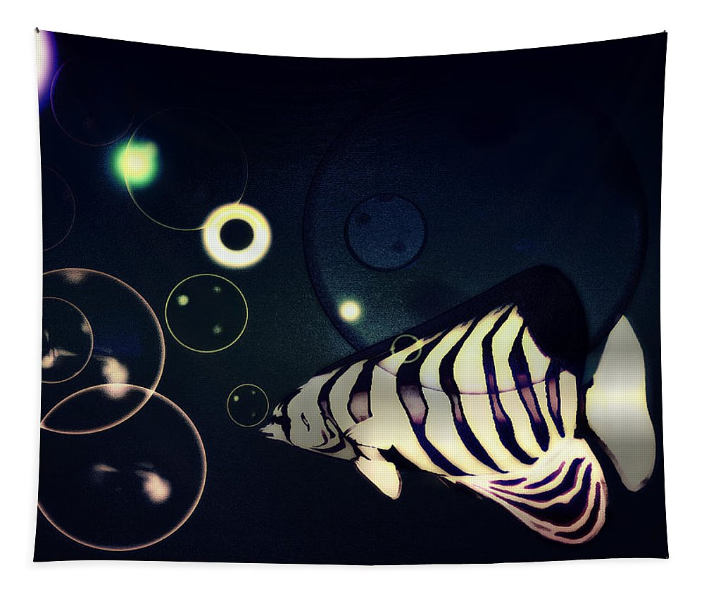 Fish Tapestry featuring the digital art Fish Bubbles by Ramon Martinez