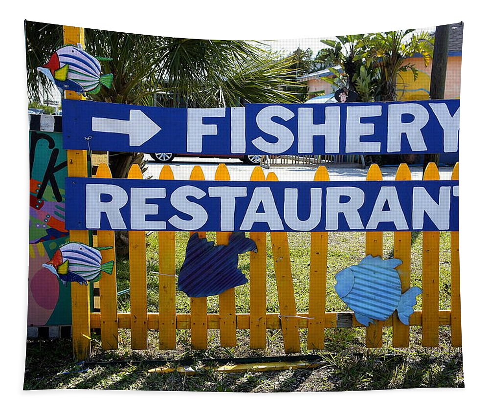 Fishery Restaurant Tapestry featuring the photograph Fishery by Laurie Perry