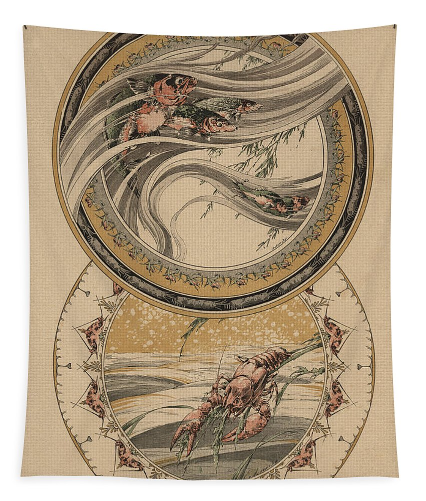 Lobster Tapestry featuring the painting Fishes And Lobster by Jules-Auguste Habert-Dys