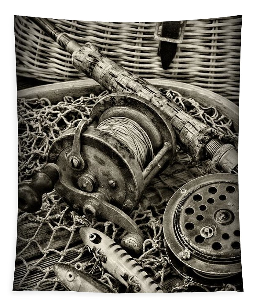Paul Ward Tapestry featuring the photograph Fishing - All That Gear In Black And White by Paul Ward