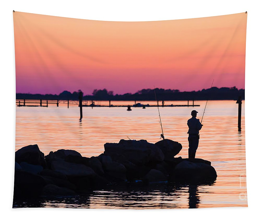 Fisherman Tapestry featuring the photograph Fishing At Sunset by Edward Fielding