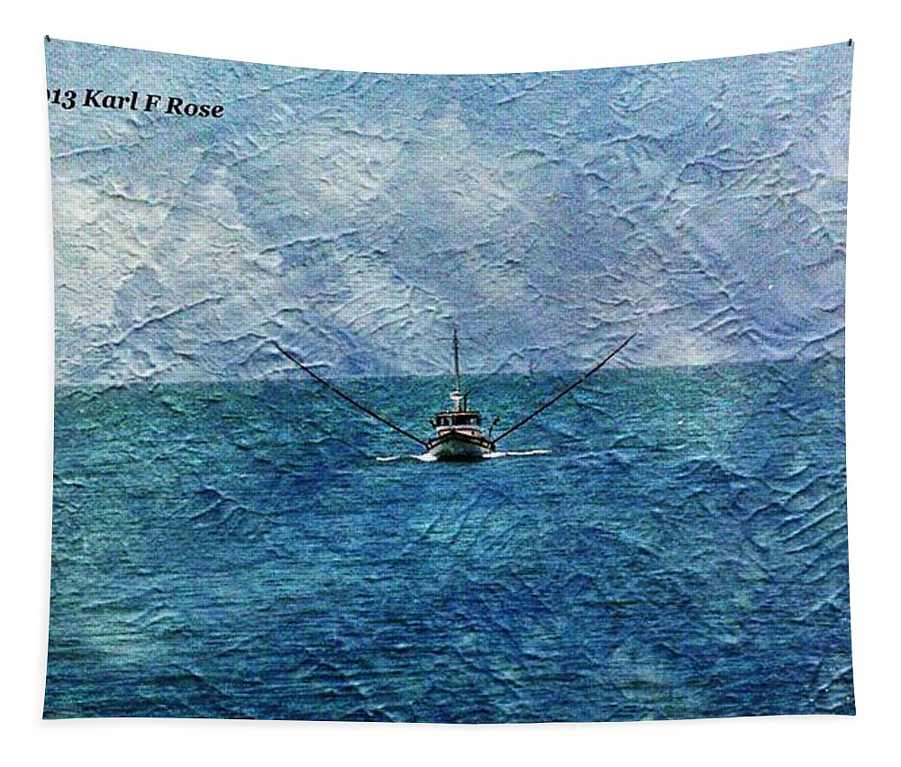 Fishing Tapestry featuring the photograph Fishing Boat As A Painting 2 by Karl Rose