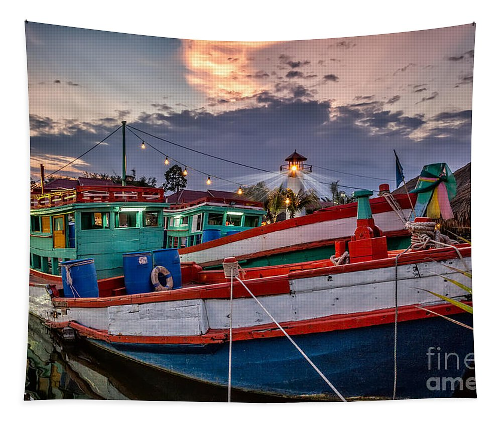 Hdr Tapestry featuring the photograph Fishing Boat V2 by Adrian Evans