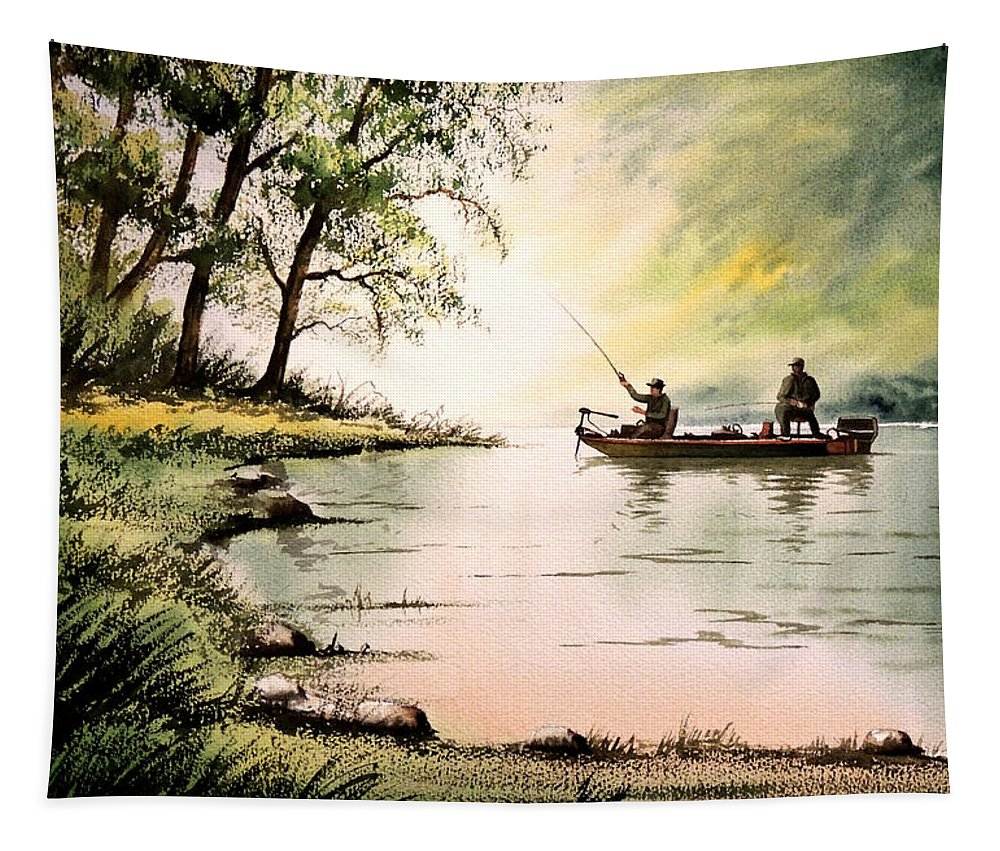 Bass Fishing Tapestry featuring the painting Fishing For Bass - Greenbrier River by Bill Holkham
