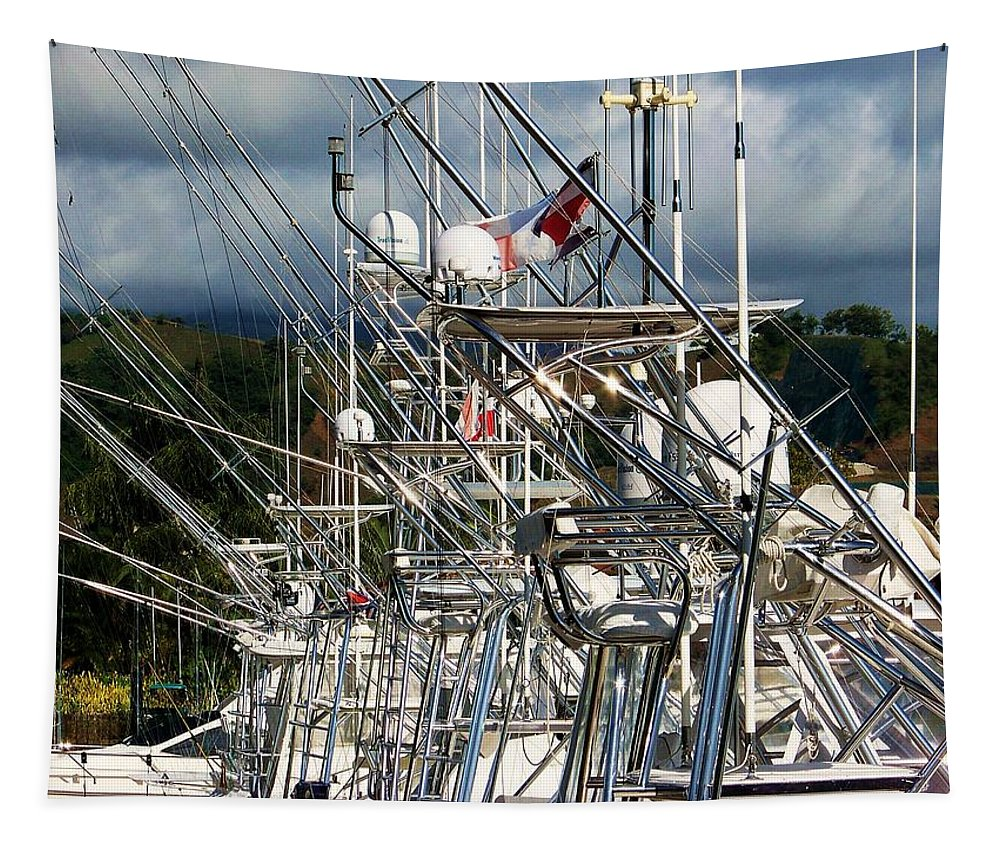 Nautical Boat Towers Tapestry featuring the photograph Fishing Fury by Karen Wiles