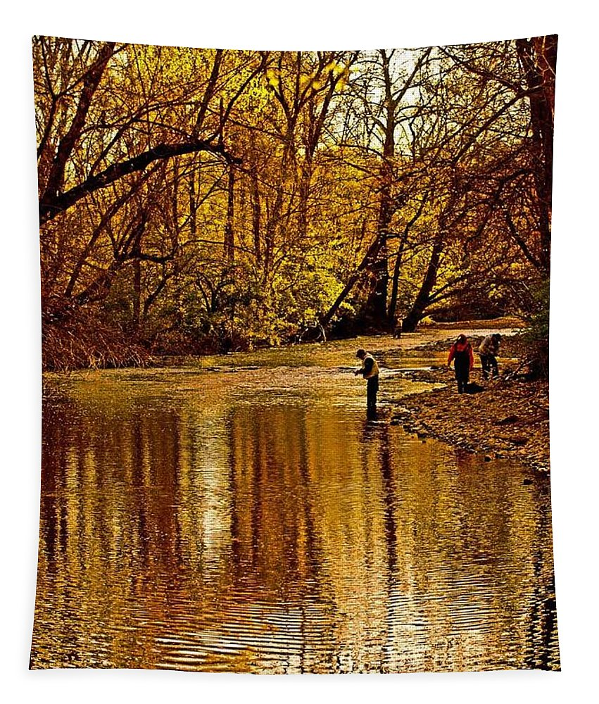 Nature Tapestry featuring the photograph Fishing by Tom Gari Gallery-Three-Photography