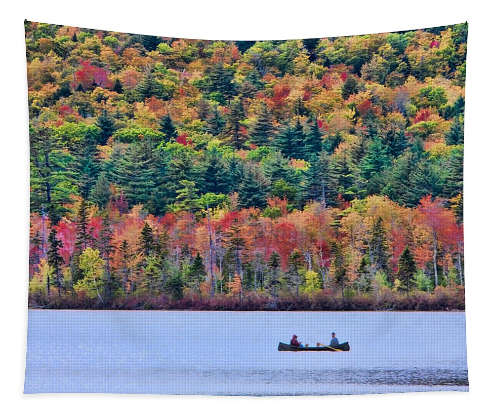 Autumn Foliage New England Tapestry featuring the photograph Fishing In The Fall Colors On Lake Chocorua by Jeff Folger