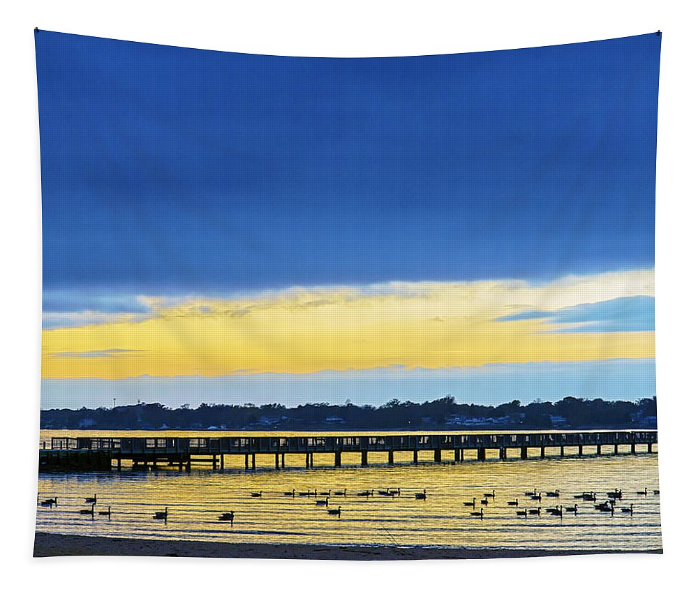 2d Tapestry featuring the photograph Fishing Pier At Sunset by Brian Wallace