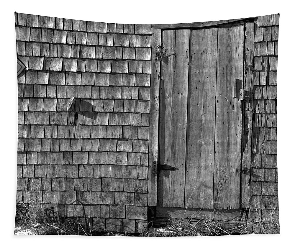Black And White Tapestry featuring the photograph Fishing Shed 12 by Timothy Bischoff