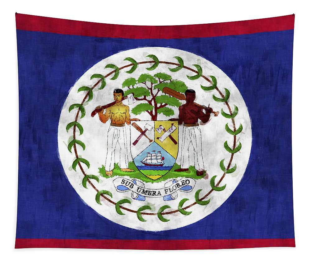 Belize Tapestry featuring the digital art Flag Of Belize by World Art Prints And Designs