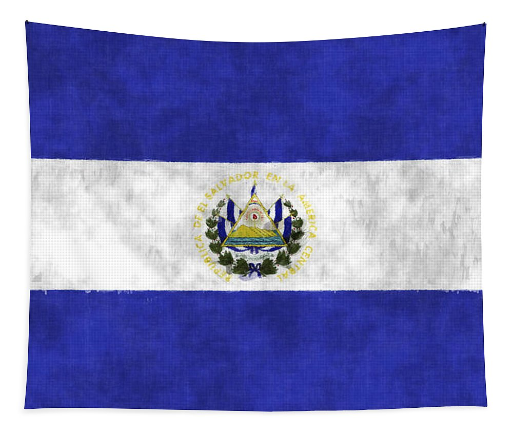 Central America Tapestry featuring the digital art Flag Of Salvador by World Art Prints And Designs