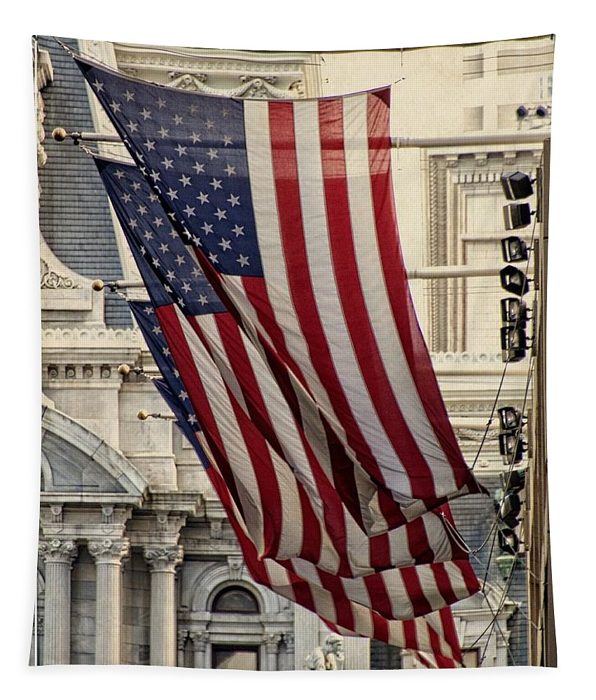 American Flags Tapestry featuring the photograph Flags Blowing by Alice Gipson