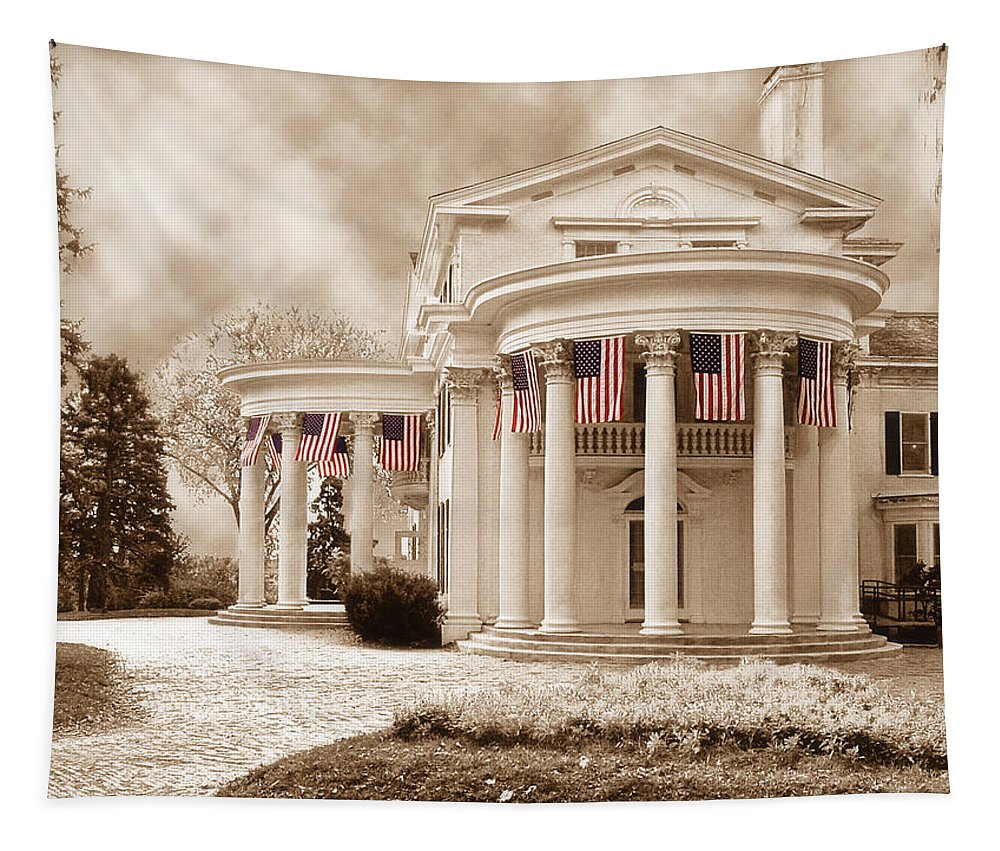 Nebraska Tapestry featuring the photograph Flags by John Anderson