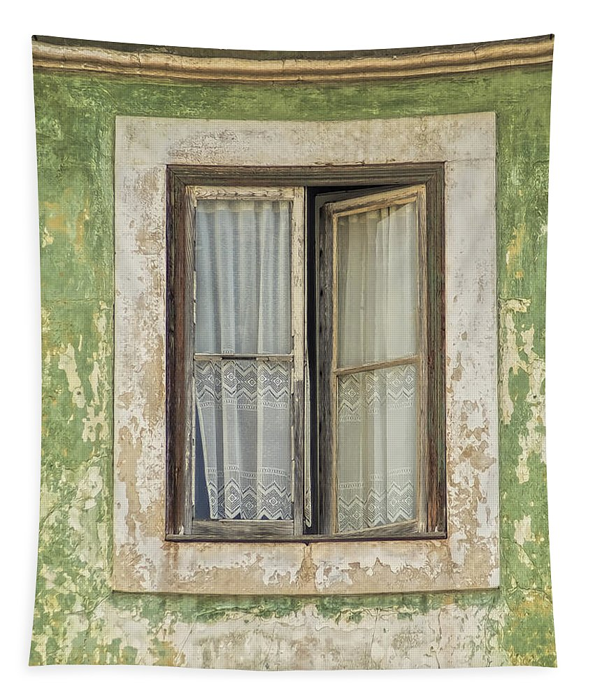 Abstract Tapestry featuring the photograph Flaking Wood Window by David Letts