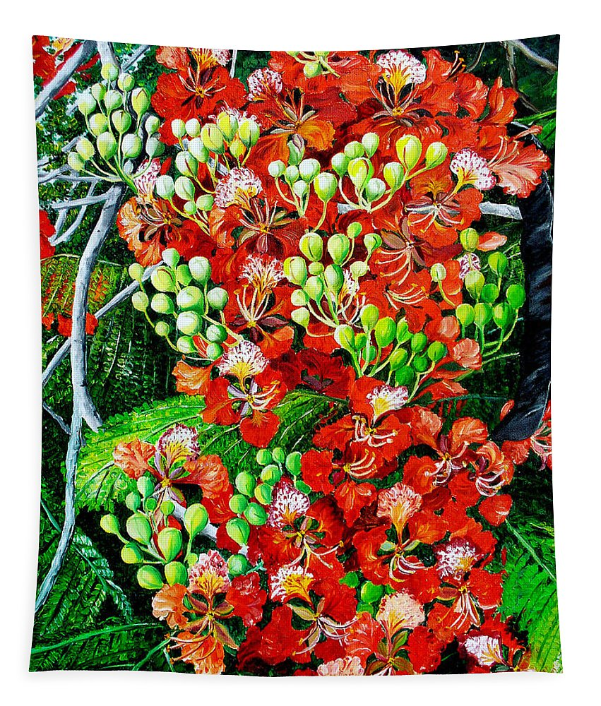 Royal Poincianna Painting Flamboyant Painting Tree Painting Botanical Tree Painting Flower Painting Floral Painting Bloom Flower Red Tree Tropical Paintinggreeting Card Painting Tapestry featuring the painting Flamboyant in Bloom by Karin Dawn Kelshall- Best