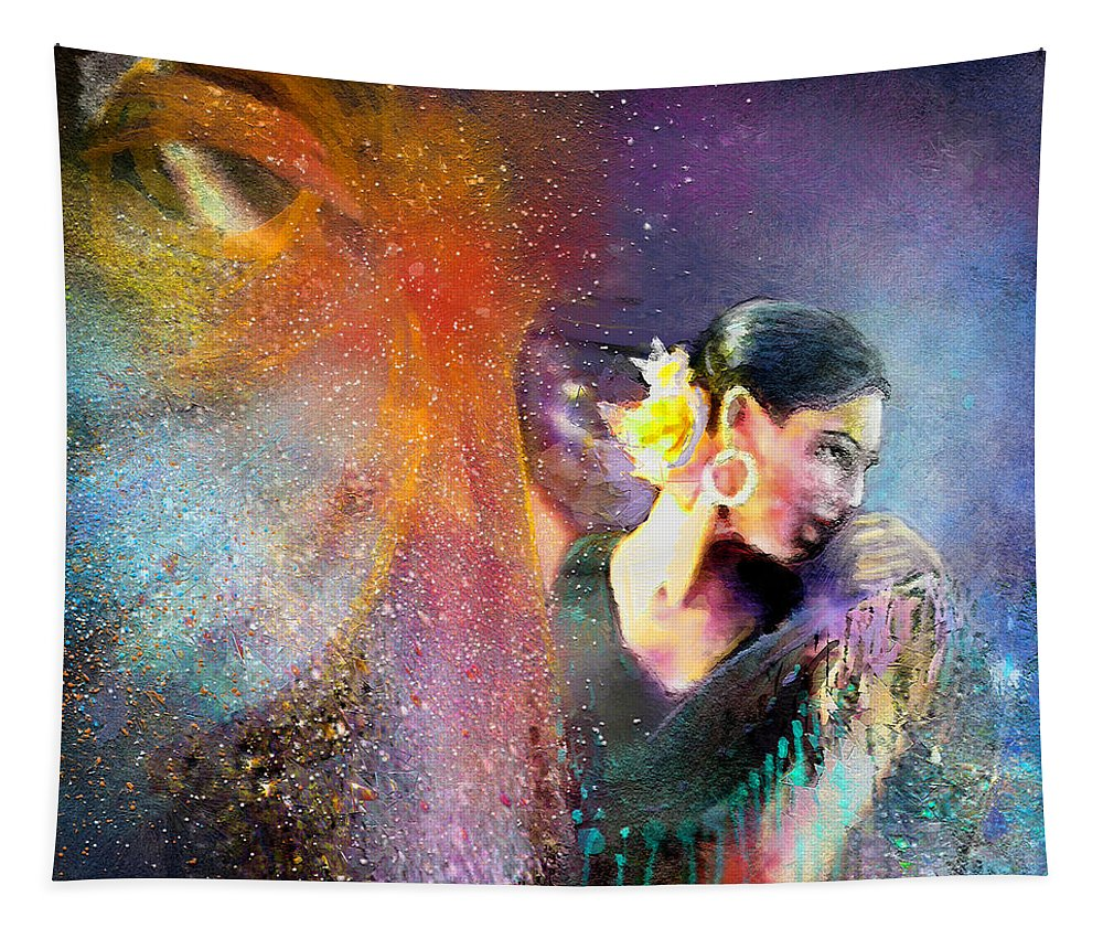 Flamenco Tapestry featuring the painting Flamencoscape 04 by Miki De Goodaboom
