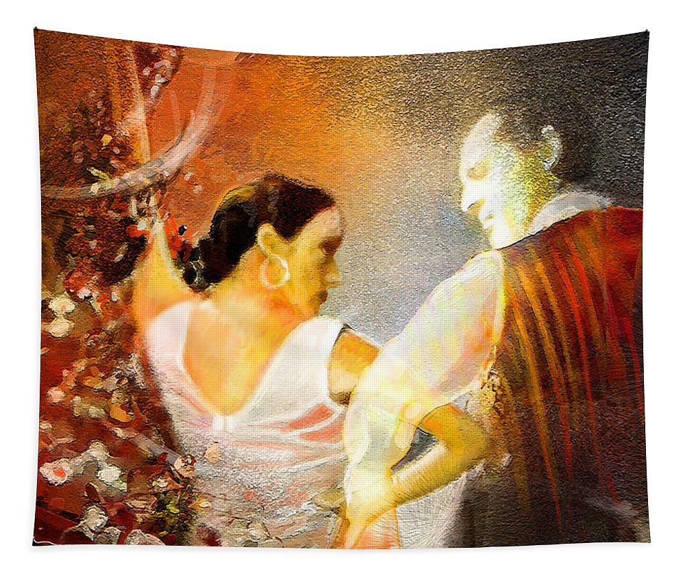 Flamenco Painting Tapestry featuring the painting Flamencoscape 10 by Miki De Goodaboom