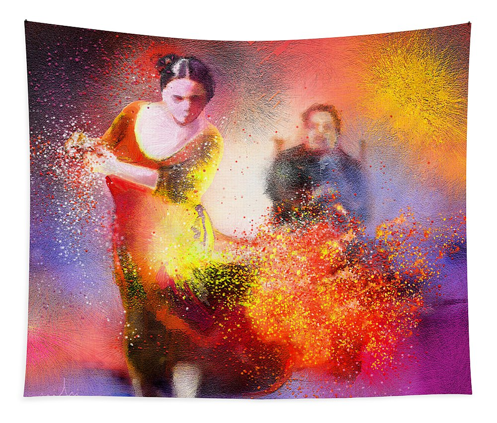 Flamenco Painting Tapestry featuring the painting Flamencoscape 11 by Miki De Goodaboom