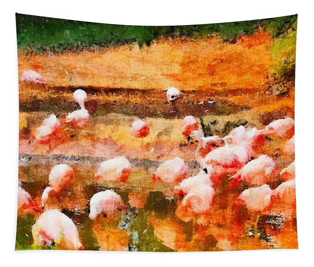 Flamingo Gathering Tapestry featuring the painting Flamingo Gathering by Dan Sproul