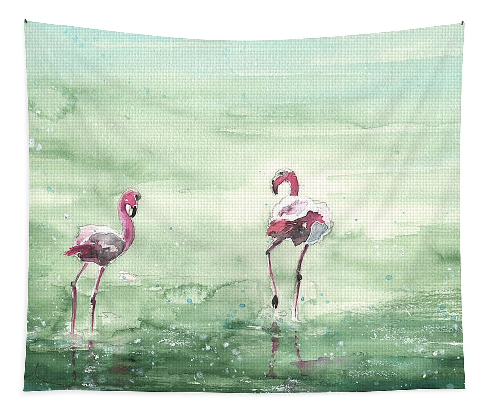 Watercolour Tapestry featuring the painting Flamingos In Camargue 02 by Miki De Goodaboom