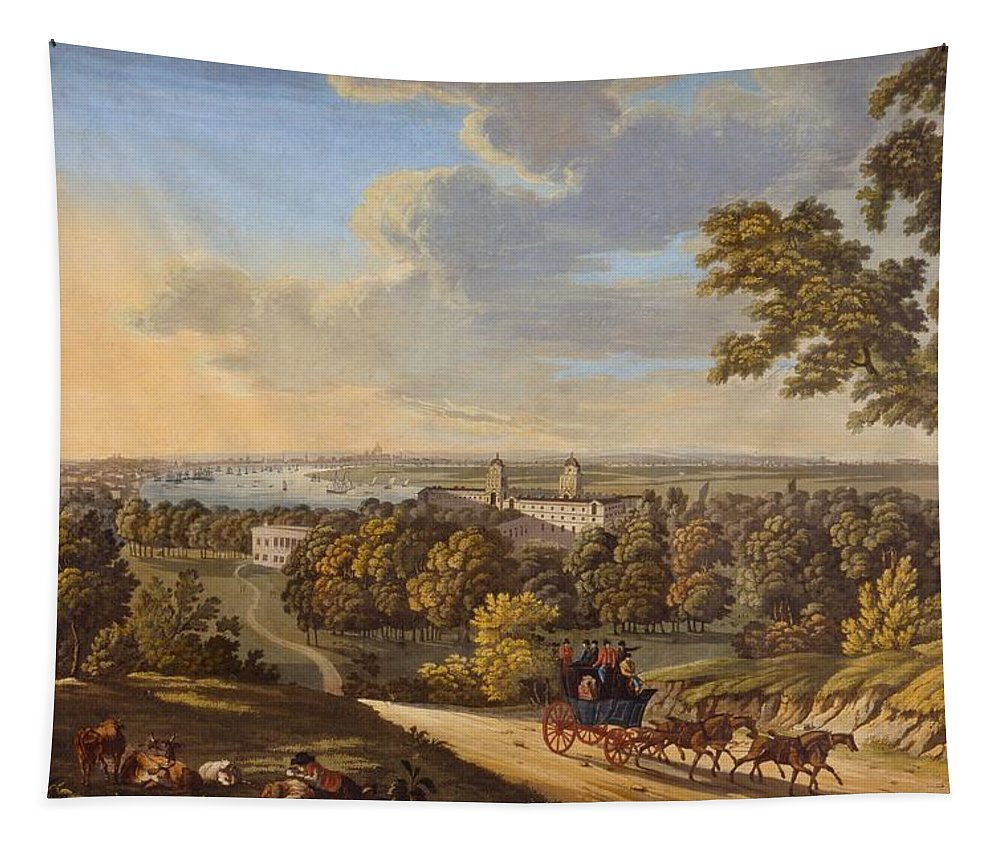 Flamstead Hill Tapestry featuring the drawing Flamstead Hill, Greenwich The by English School