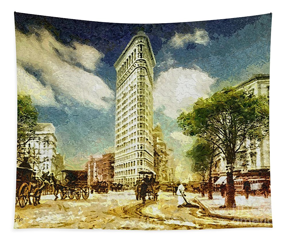 Flatiron Tapestry featuring the painting Flatiron by Mo T