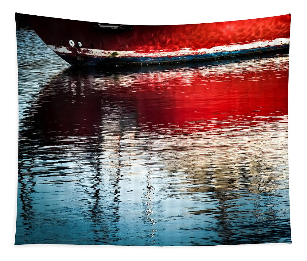 Nautical Red Boats Tapestry featuring the photograph Red Boat Serenity by Karen Wiles