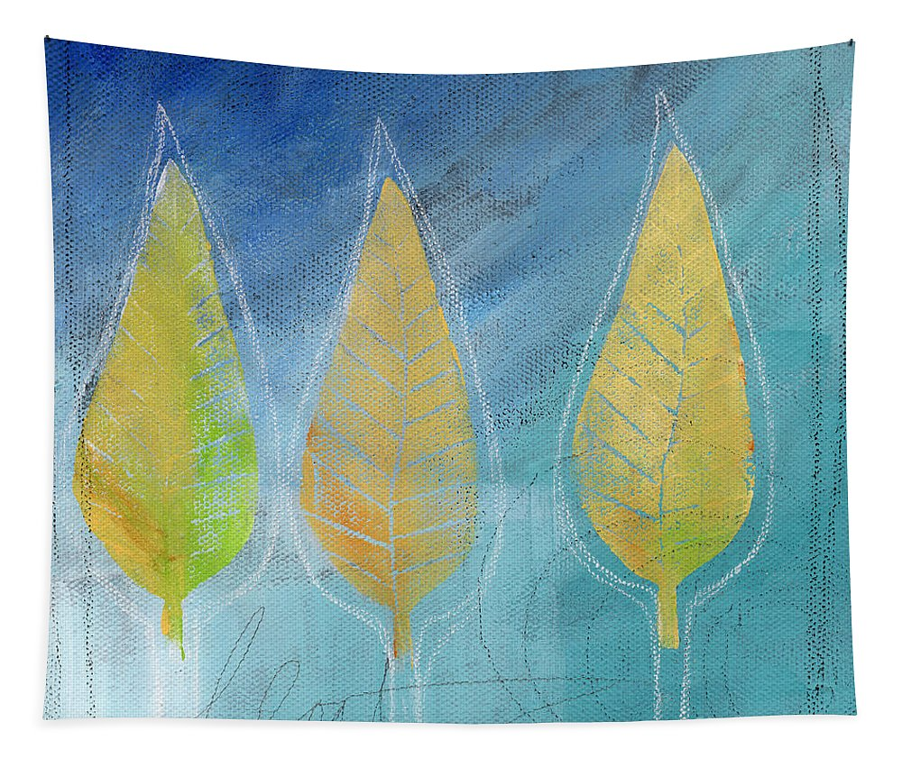 Abstract Tapestry featuring the painting Floating by Linda Woods