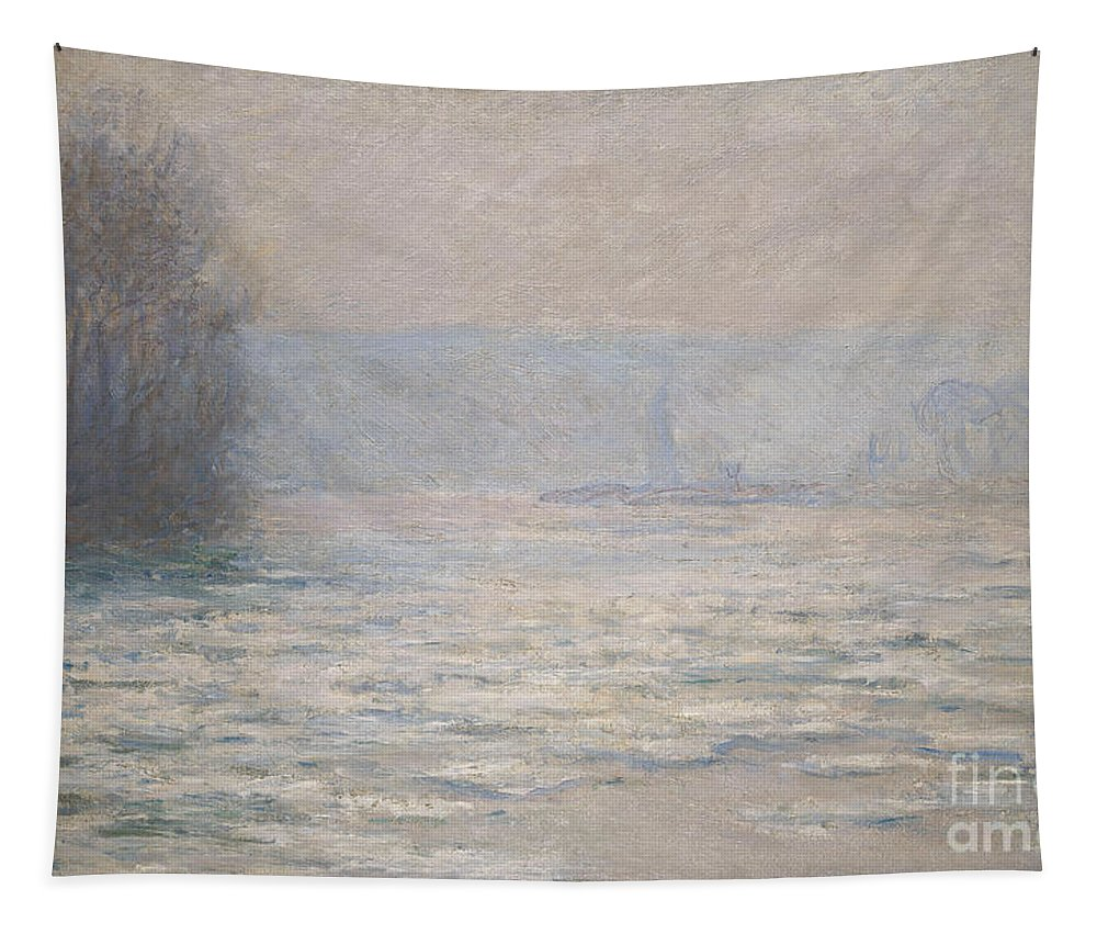 French Tapestry featuring the painting Floods On The Seine Near Bennecourt by Claude Monet