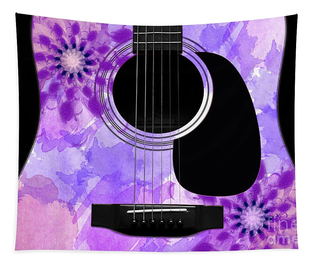 Abstract Tapestry featuring the digital art Floral Abstract Guitar 29 by Andee Design