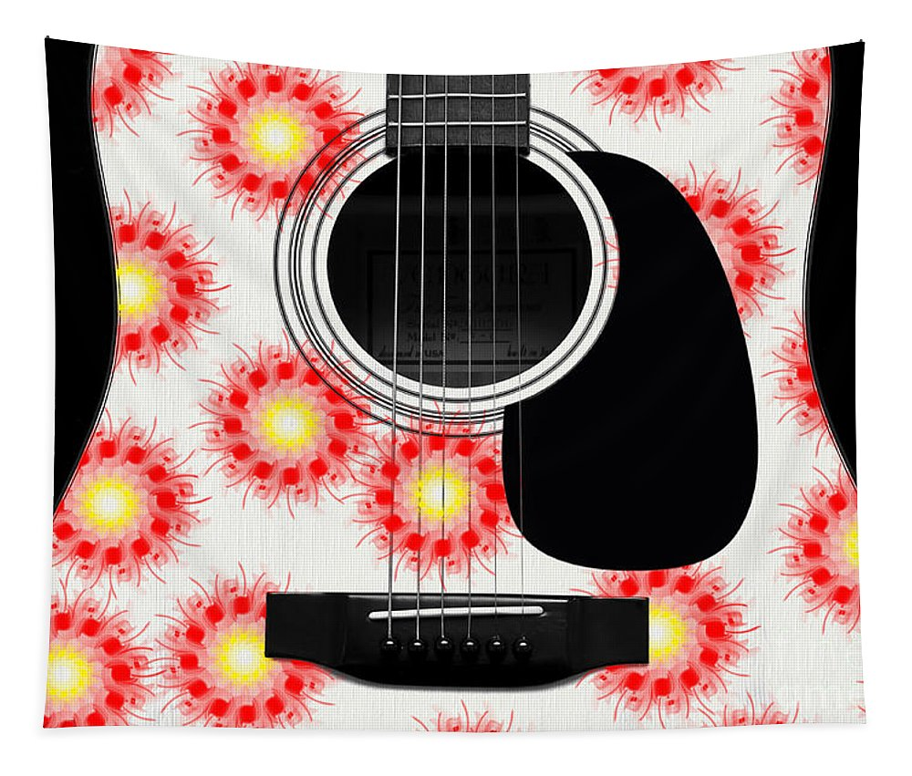 Abstract Tapestry featuring the digital art Floral Abstract Guitar 8 by Andee Design
