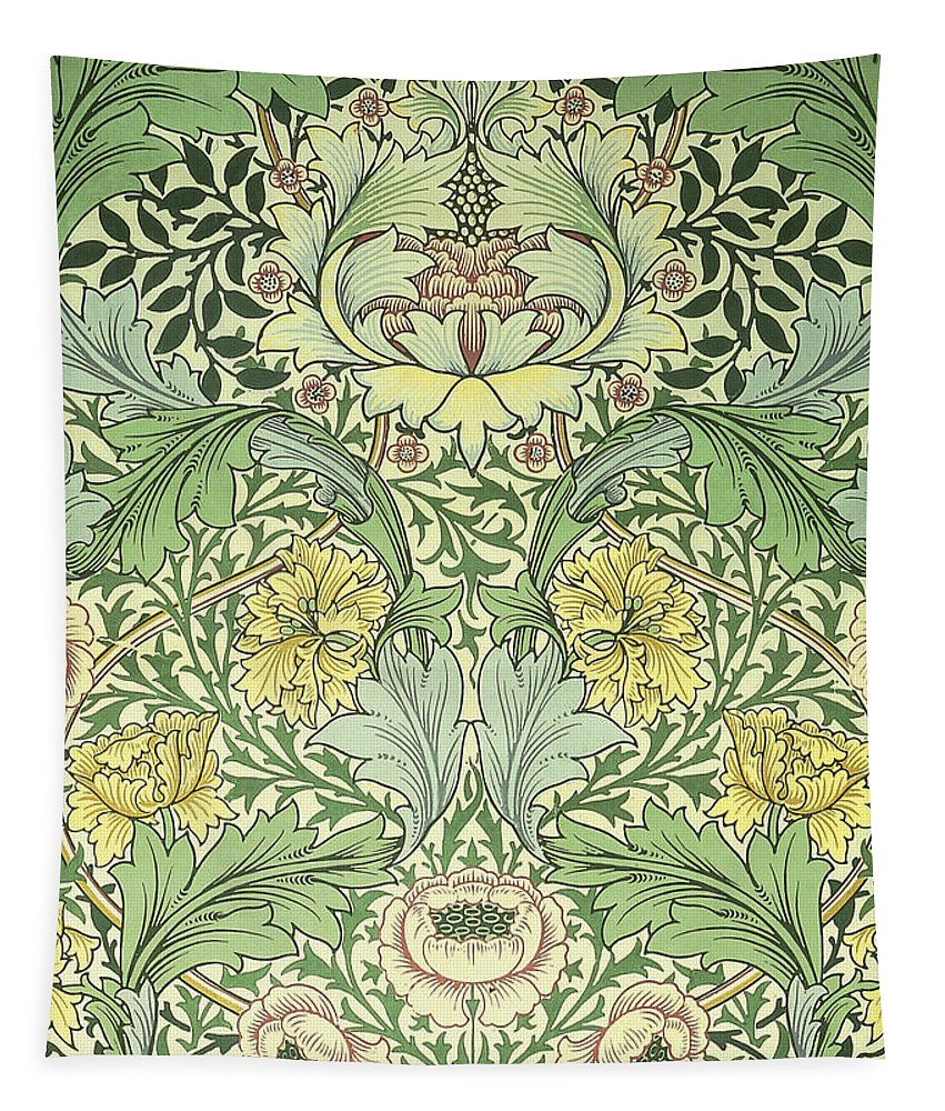 William Tapestry featuring the digital art Floral and foliage design by Philip Ralley