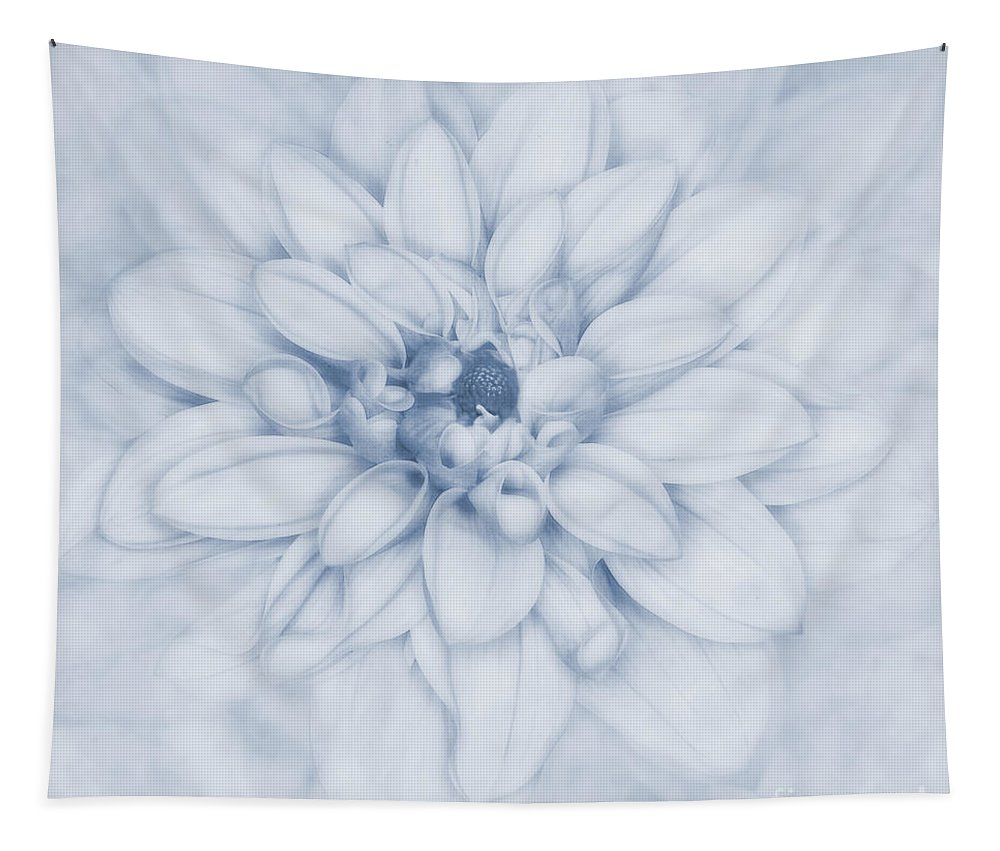 Cyanotype Floral Tapestry featuring the photograph Floral Layers Cyanotype by John Edwards
