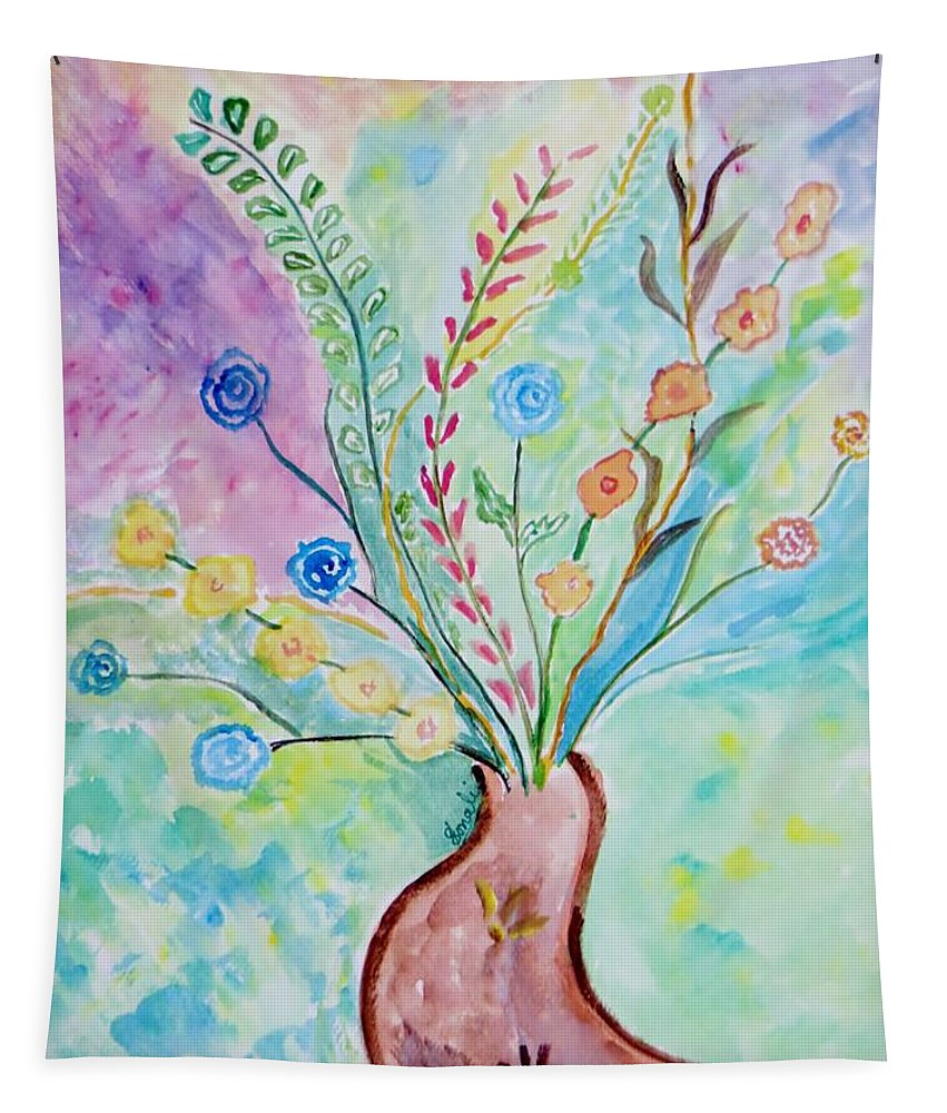 Floral Burst Tapestry featuring the painting Floral Stream by Sonali Gangane