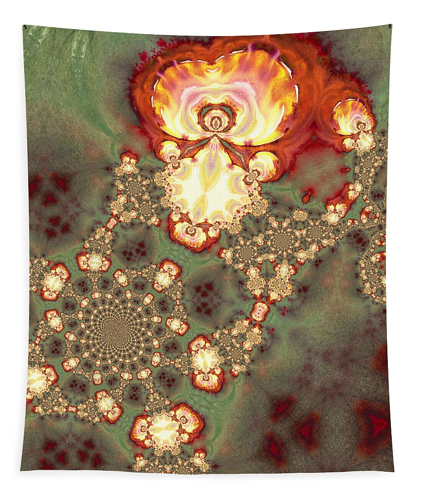 Fractal Tapestry featuring the painting Flower Of Hope by Miki De Goodaboom