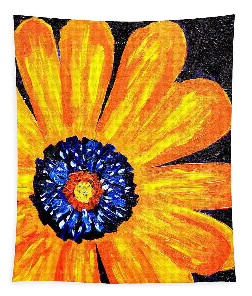Yellow Tapestry featuring the painting Flower Power 2 by Paul Anderson