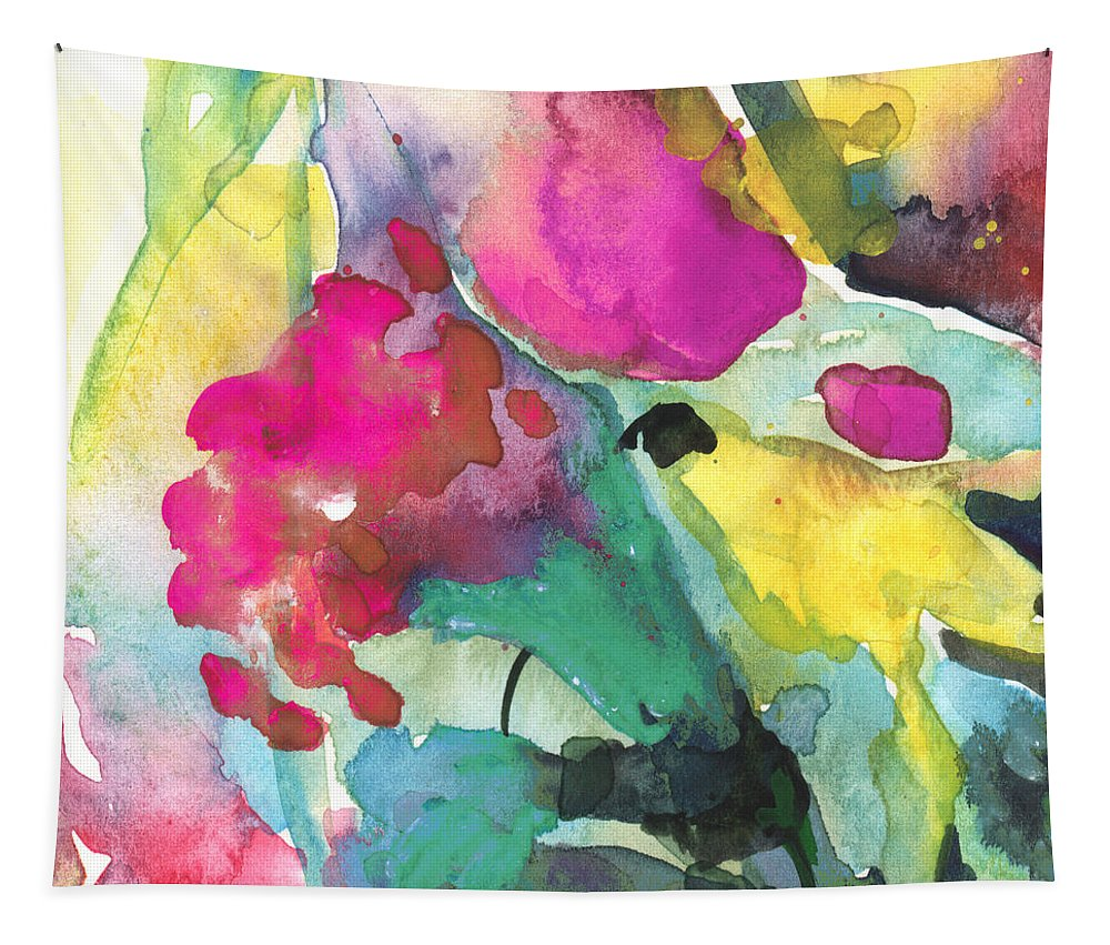 Abstract Tapestry featuring the painting Flower Symphony 02 by Miki De Goodaboom