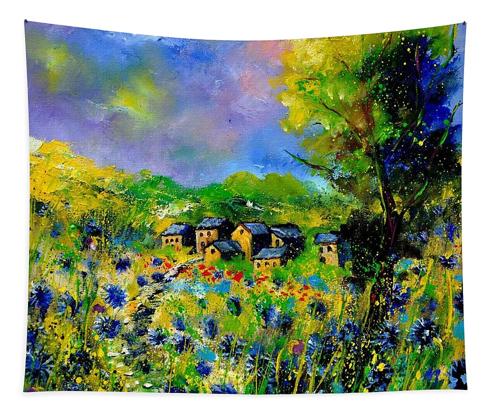 Landscape Tapestry featuring the painting Flowered Village by Pol Ledent