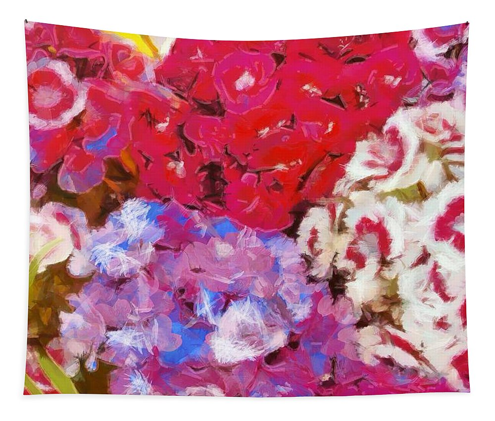 Floral Fantasy Tapestry featuring the painting Flowers by Dan Sproul