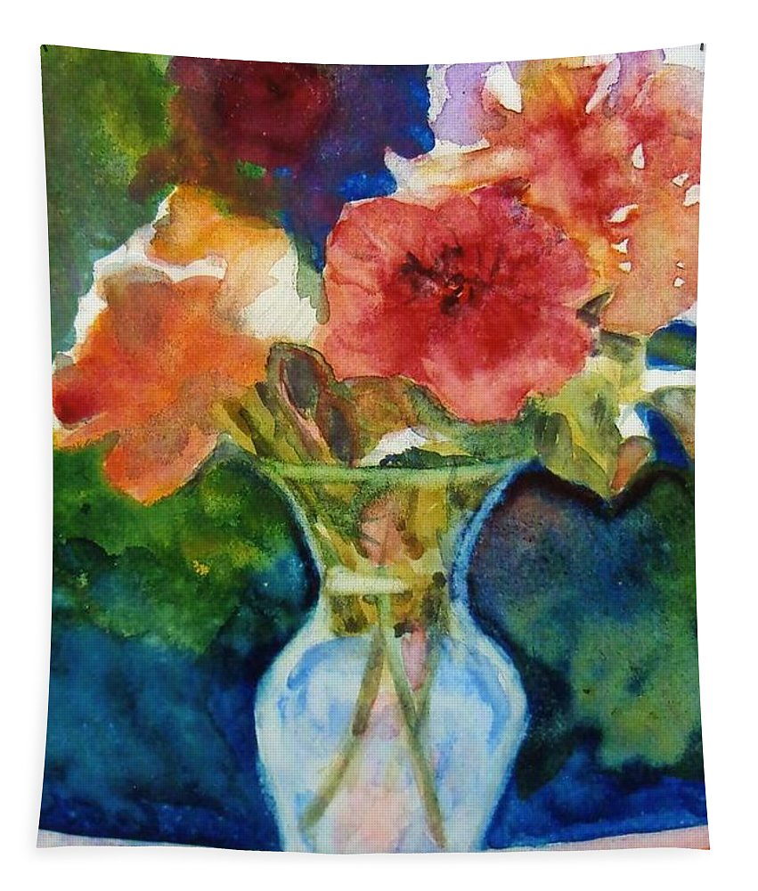 Flowers Tapestry featuring the painting Flowers In Glass Vase by Katherine Berlin