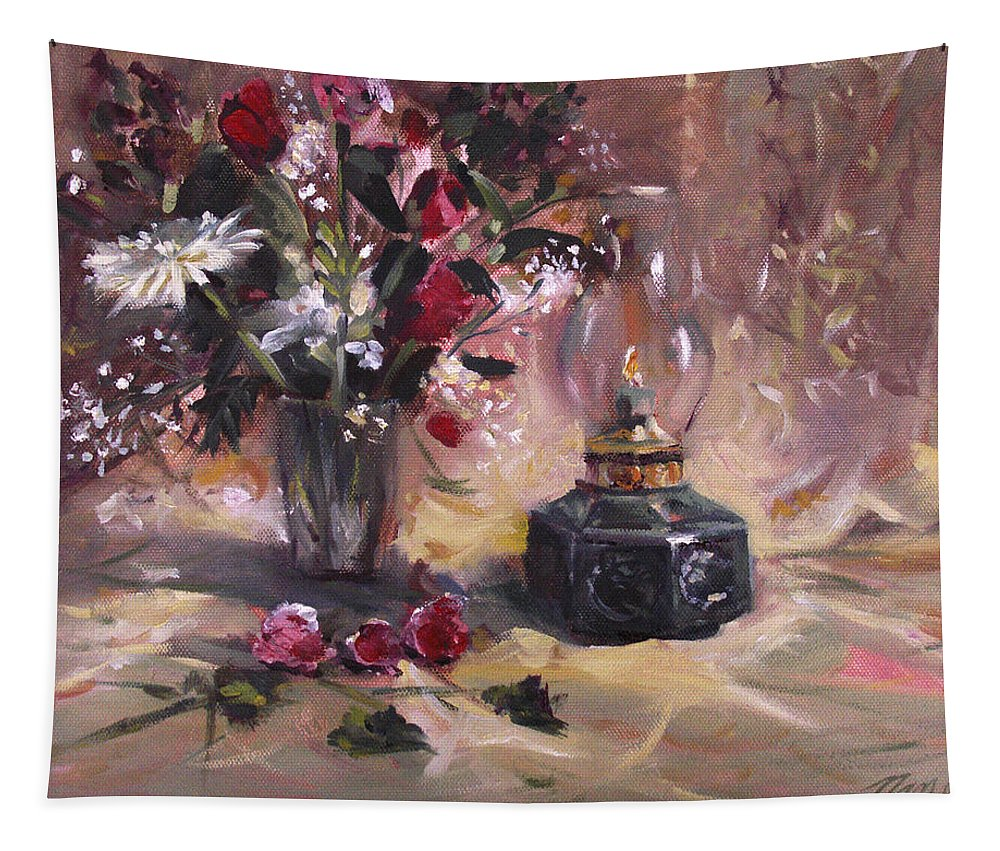 Flowers Tapestry featuring the painting Flowers with Lantern by Nancy Griswold