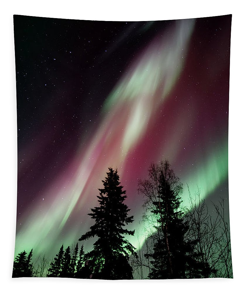 Northern Light Tapestry featuring the photograph Flowing Colours by Priska Wettstein